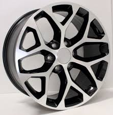 All Chevy chevy 22 inch rims : 22 Inch Black and Machine Snowflake Rims for Chevy Silverado ...