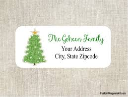 Christmas Tree Labels Christmas Address Label Tree With Gold Star