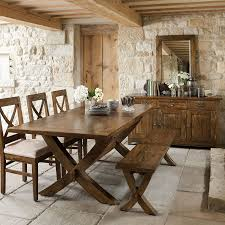 Mango Wood Extending X Leg Dining Table With 3 Chairs And Bench