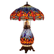 Bieye L10545 Dragonfly Tiffany Style Stained Glass Table Lamp With