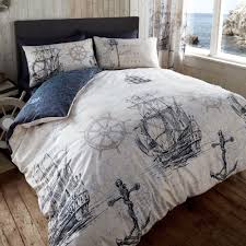 vintage nautical voyage duvet cover set with map print boats anchor design