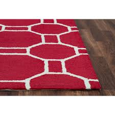 rizzy home azzura hill red geometric 4 ft x 6 ft indoor outdoor