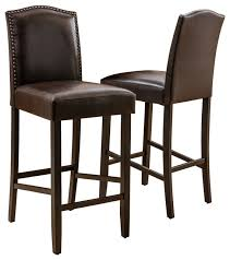 gdf studio auburn brown leather backed bar stools set of 2 transitional bar stools and counter stools by gdfstudio