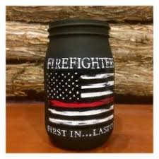 personalized firefighter gift thin red line distressed flag etsy painted jars hand painted