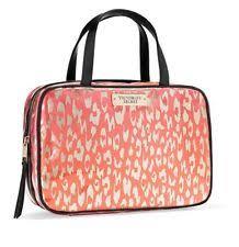 nwt victoria s secret pink striped hanging make up train case travel bag