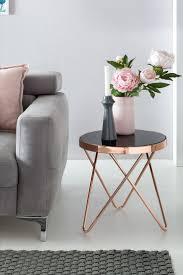 Finebuy Design Couchtisch Round Mini ø 42 Cm Rund Glas Kupfer