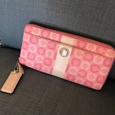Large Coach Pink Zipper Signature Stripe Wallet