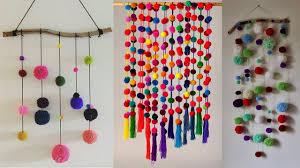 diy wall hanging crafts ideas diy with woolen pom pom wall hanging for room decor on wall hanging art and craft ideas with diy wall hanging crafts ideas diy with woolen pom pom wall hanging