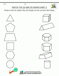 3 d shape worksheets contemporary quintessence shapes match 2 d 1 ...