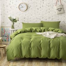 green duvet cover queen.  Cover 4PC 100 Cotton Plain Solid Color Bedding Sets Army Green Duvet Covers  Single Twin Full To Green Duvet Cover Queen A