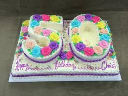 Number 50 On Top Of Full Sheet Pound Cake Bright Pastel Roses
