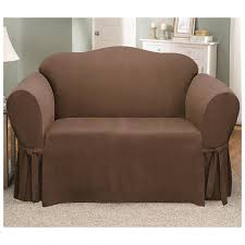 cover furniture. Contemporary Furniture Microsuede Sofa Cover Box Cushion Furniture Chocolate Brown Coffee  Single Seat With Two Ribbon Inside Cover Furniture F