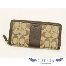 Coach signature large zip around wallet Brown(SecondHand)