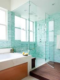 two person walk in shower design with turquoise mosaic tiling