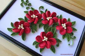 flower hanging wall art miniature quilled home decoration