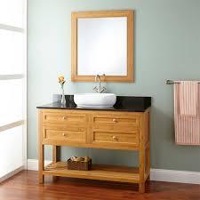 Bamboo Bathroom Cabinets 48 Narrow Depth Thayer Bamboo Vessel Sink Console Vanity Bathroom