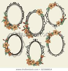 Antique oval frame ornate Old Fashioned Set Of Vintage Oval Frames Decorated With Flowers And Leaves Shutterstock Set Vintage Oval Frames Decorated Flowers Stock Vector royalty Free