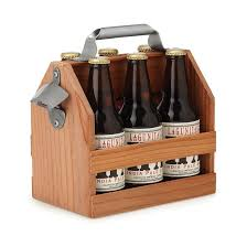 wooden six pack beer caddy