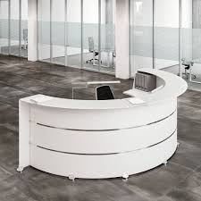 office reception table. Reception Glass L - Desk In Oak Laminated Wood, Accessories White Colour Office Table