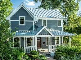 Light Blue Houses With White Trim Beautiful Coastal Blue Exteriors Metal Roof Houses