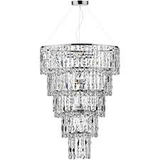escala long drop crystal waterfall chandelier on chrome frame