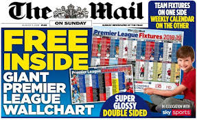 Premier League Wall Chart Football Cartophilic Info Exchange The Mail On Sunday