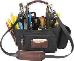 carpenter s tote with rugged handmade leather handle 38 specific holders for all commonly used tools including 2 sd square slots chisels torpedo level