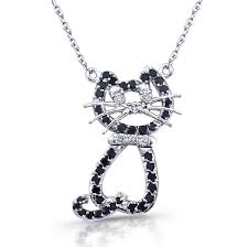 14k white gold kitty cat diamond necklace