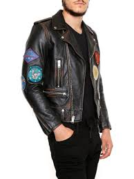 men clothes coats vintage effect leather biker jacket igd8kjbqh