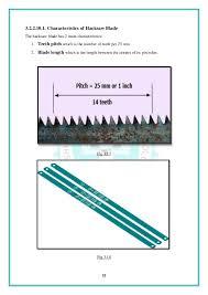 hacksaw blade direction. back edge fig.3.16; 25. hacksaw blade direction a