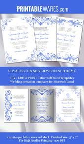 Microsoft Word Templates Invitations Royal Blue Silver Wedding Invitation Templates