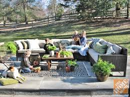 outdoor sectional home depot. A Young Family Relaxes On An Outdoor Sectional Beautifully Decorated Backyard Patio Home Depot
