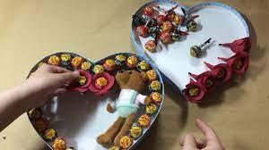 Làm hộp kẹo mút Chupachup hình trái tim tặng sinh nhật bạn Make heart  lollipop box - YouTube