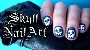 easy skull nail art tutorial - YouTube