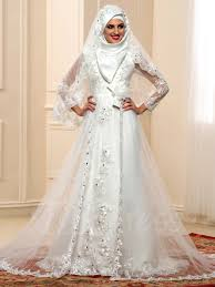Long Sleeves Beading Lace Tulle Arabic Muslim Wedding Dress With