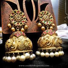 Gold Jhumka Designs For Bridal Big Gold Bridal Jhumka Antique Jewellery Designs India