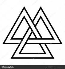 Valknut Vikingů Symbol Geometrický Design Prvek Severského