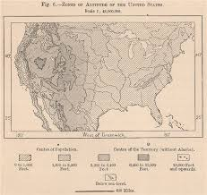 Zones Of Altitude Of The United States Usa 1885 Old Antique Map Plan Chart