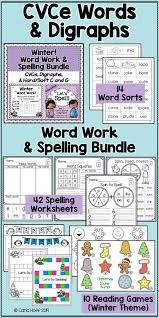 Winter Word Work & Spelling Bundle - CVCe Words & Digraphs   Word ...