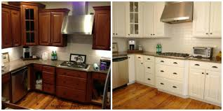 Refinished White Cabinets Refinishing Oak Cabinets Before And After Pictures Monsterlune