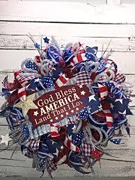 patriotic wreaths for front doorPatriotic Wreath Patriotic Wreath for Front Door Red White Blue