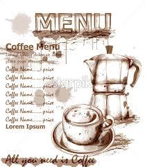 Menu Card Template Menu Card Template Fresh Coffee Drink Vector Coffee Cup And Kettle