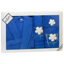 <b>Полотенца</b> : Набор халат+3 <b>полотенца Flower</b> 2 синий