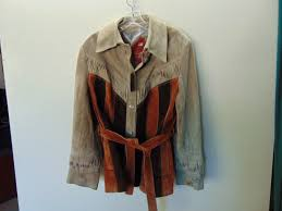 ww51 1970 s vintage womens belted rough leather hippy jacket size 16 80