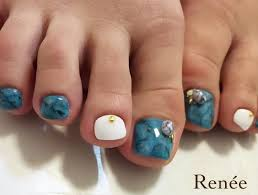 Foot Nail 夏っぽくターコイズ Nailネイルジェルネイルシンプル
