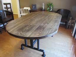HANDMADE RUSTIC OBLONG DINING TABLE on CUSTOM METAL BASE (42