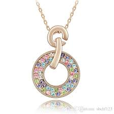 whole bridal necklace with rhinestone crystal necklaces pendant fashion jewelry make with swarovski elements 18k rose gold plated 2881 necklaces for