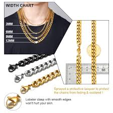 Necklace Width Chart Goldchic Jewelry 18k Gold Plated Chains For Men Rapper Chains Chunky Curb Chain Necklace Basic Chain Necklace For Men Women W 3mm 6mm 9mm 12mm L