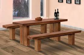 minimalist country kitchen table and bench set with wooden flooring