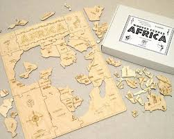 wooden puzzle africa with english description